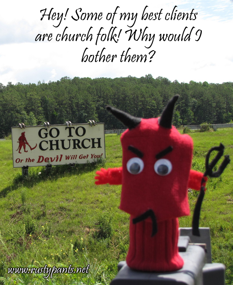 Satan Sockpuppet at a curious billboard in Alabama